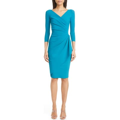 Chiara Boni La Petite Robe Charisse Faux Wrap Cocktail Dress, 8 US - Blue