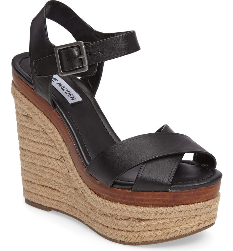 STEVE MADDEN Paso Espadrille Wedge Sandal, Main, color, 001