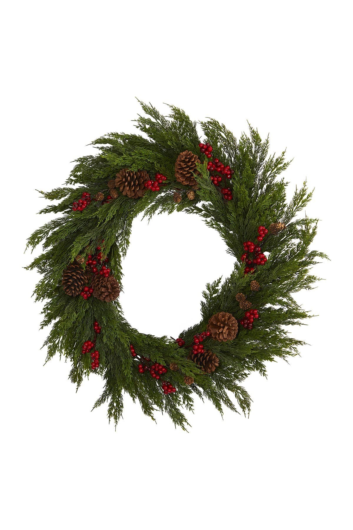 """Image of NEARLY NATURAL 32"""" Cypress, Berries, & Pinecones Artificial Wreath"""