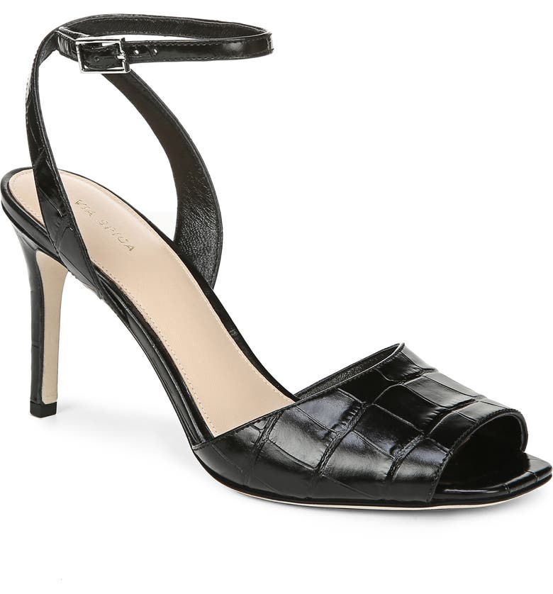 VIA SPIGA Tatienne Sandal, Main, color, BLACK LEATHER