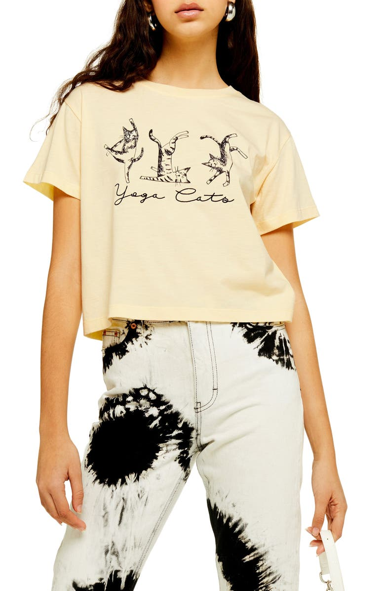 TOPSHOP By Tee & Cake Yoga Cats Tee, Main, color, 700