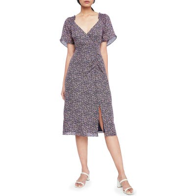 Parker Suzie Floral Silk A-Line Midi Dress, Blue