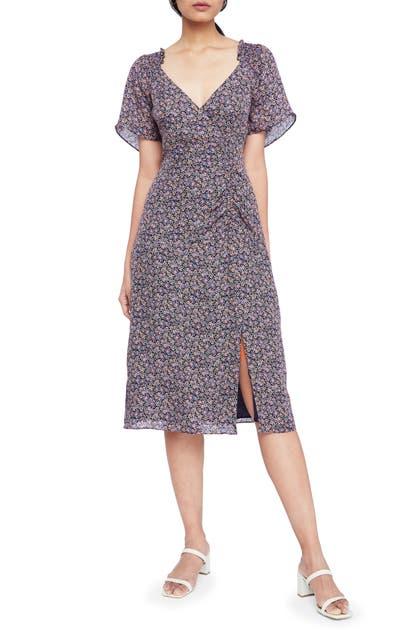 Parker Suzie Floral Silk A-line Midi Dress In Viceroy Floral