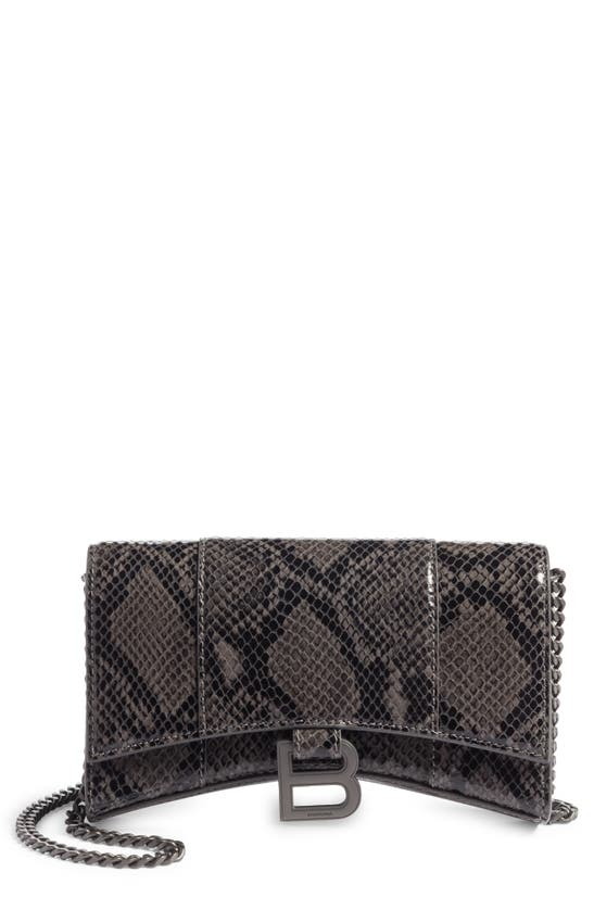 Balenciaga Wallets HOURGLASS SNAKE EMBOSSED LEATHER WALLET ON A CHAIN