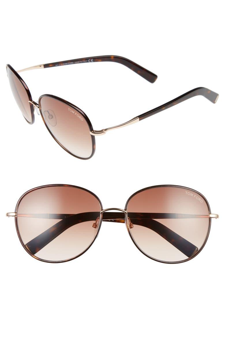 TOM FORD Georgia 59mm Sunglasses, Main, color, ROSE GOLD/ HAVANA/ BROWN