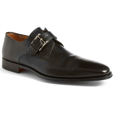 Magnanni Marco Plain Toe Monk Shoe, Black