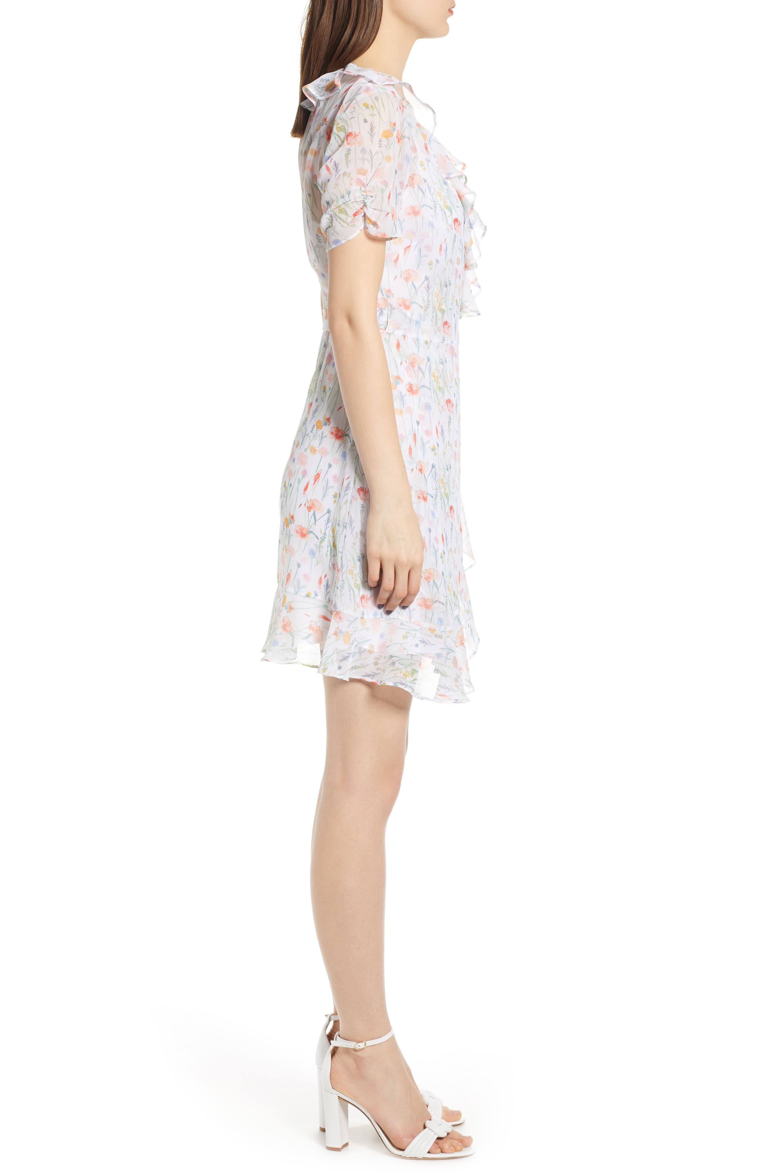 ,                             In the Clouds Floral Ruffle Wrap Dress,                             Alternate thumbnail 3, color,                             WHITE MULTI