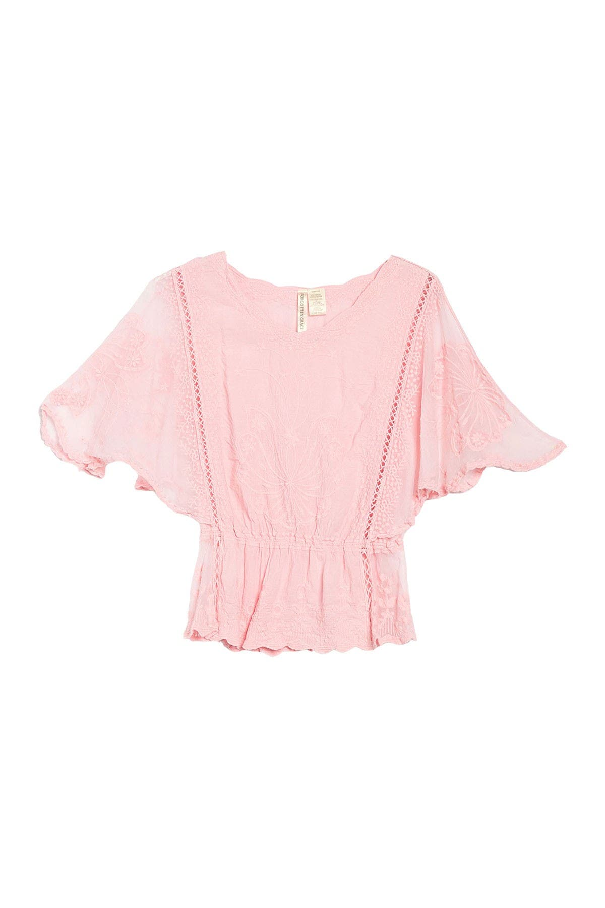 Image of Forgotten Grace Embroidered Flutter Sleeve Top