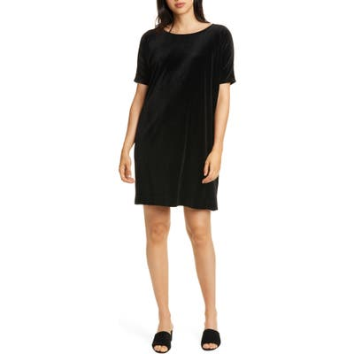 Eileen Fisher Stretch Velvet Shift Dress, Black