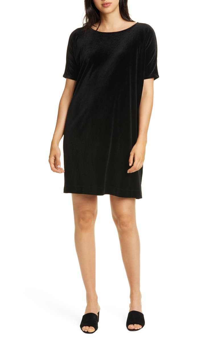 EILEEN FISHER Stretch Velvet Shift Dress, Main, color, BLACK
