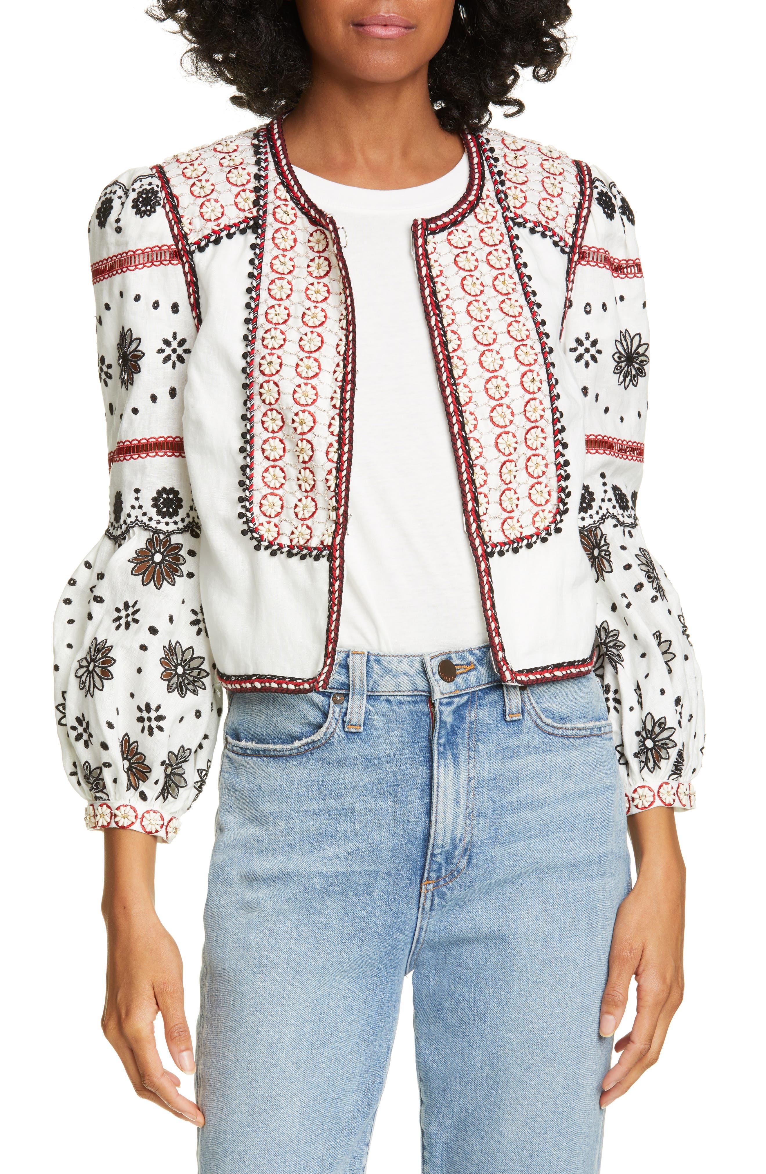 Shilin Embellished Linen Jacket, Main, color, OFF-WHITE