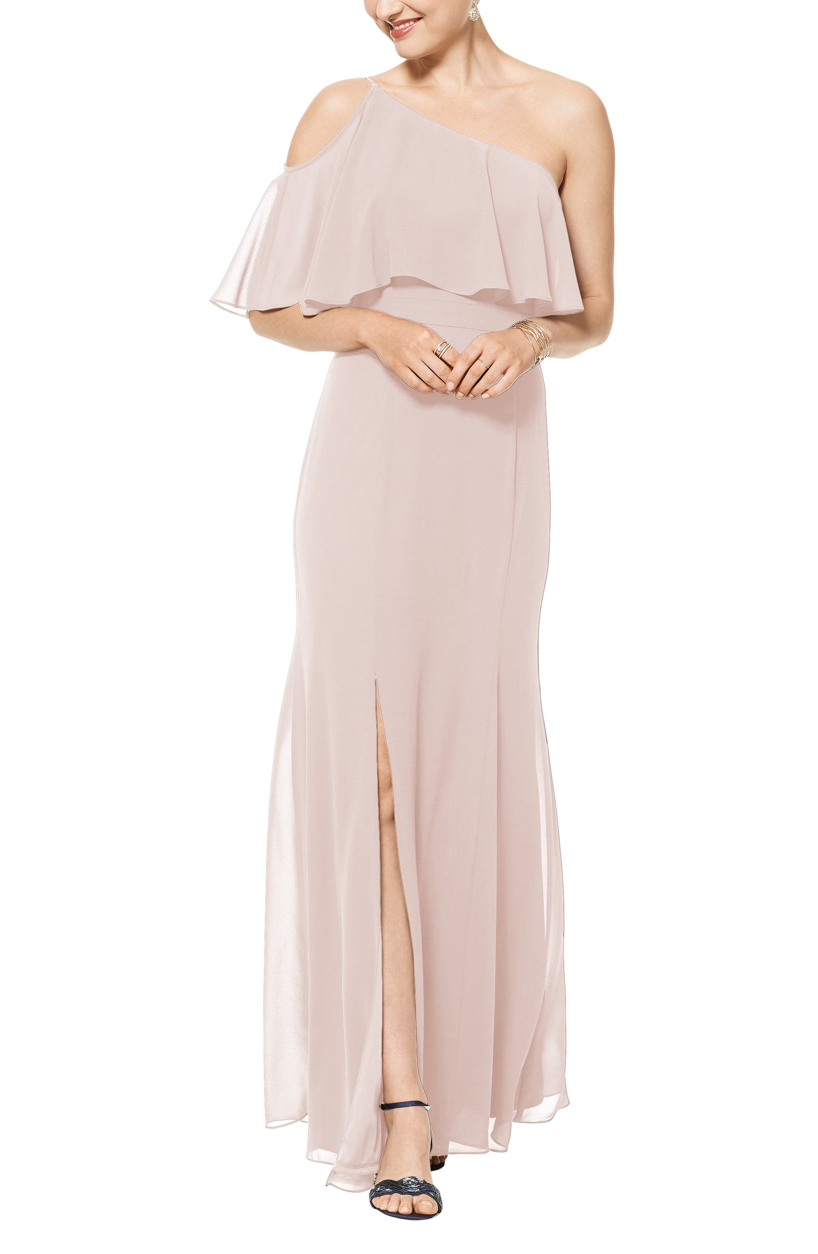 Boast a Grecian-inspired silhouette in this sweeping chiffon gown that bares one shoulder, beautifully skims your curve then flares gracefully to the floor. Style Name:#levkoff One-Shoulder Chiffon A-Line Gown. Style Number: 6009385. Available in stores.