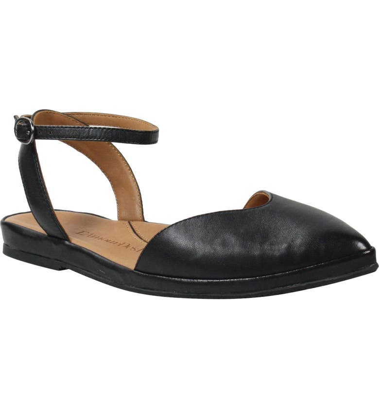 L'AMOUR DES PIEDS Moon Ankle Strap Flat, Main, color, BLACK LEATHER