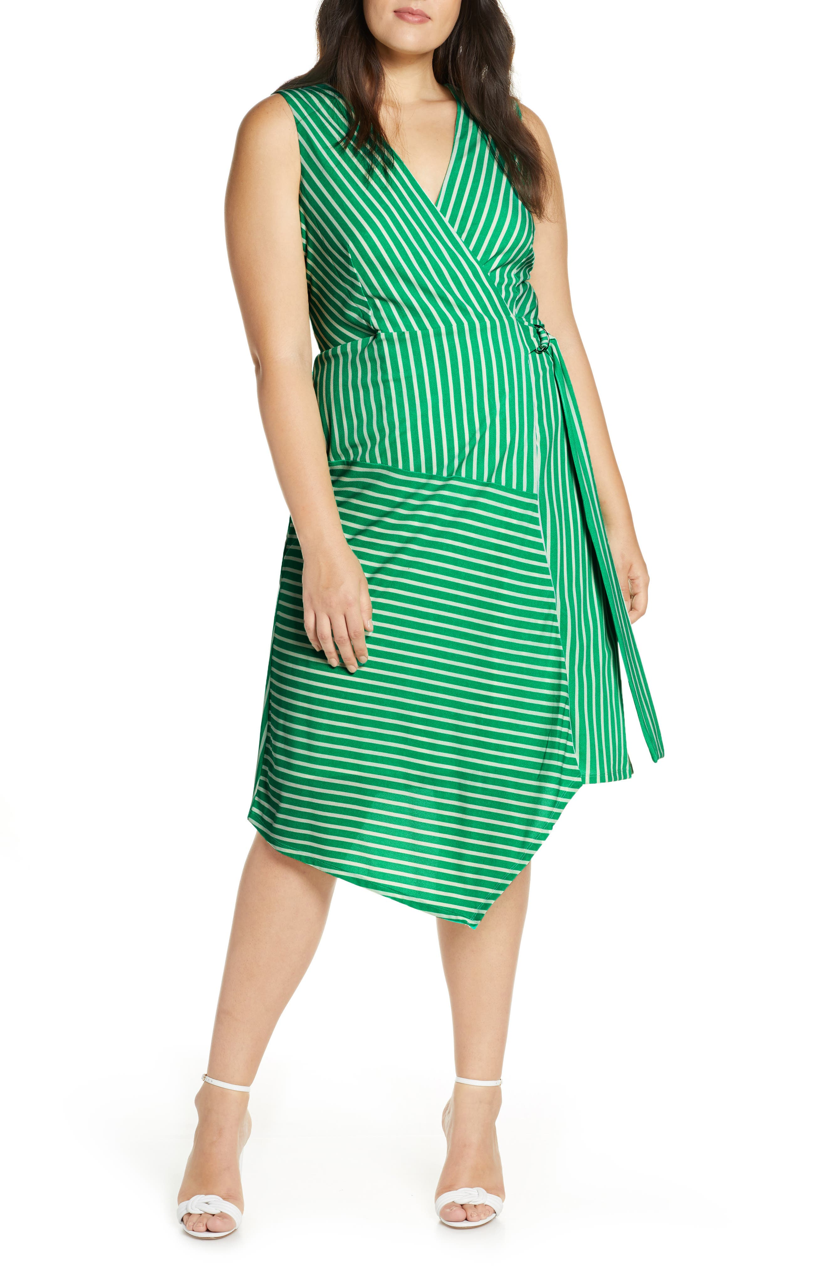 ,                             Wrap Midi Dress,                             Alternate thumbnail 4, color,                             JADE-WHITE STRIPE