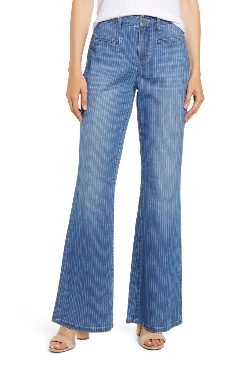 WASH LAB Pinstripe Flare Leg Jeans, Main, color, 422
