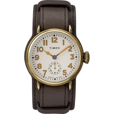 Timex Waterbury Welton Leather Cuff Watch,