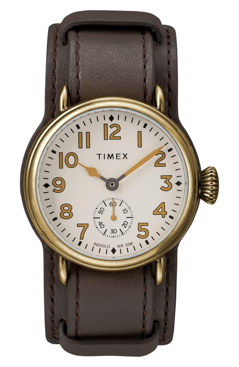 Timex Waterbury Welton Leather Cuff Watch 38mm
