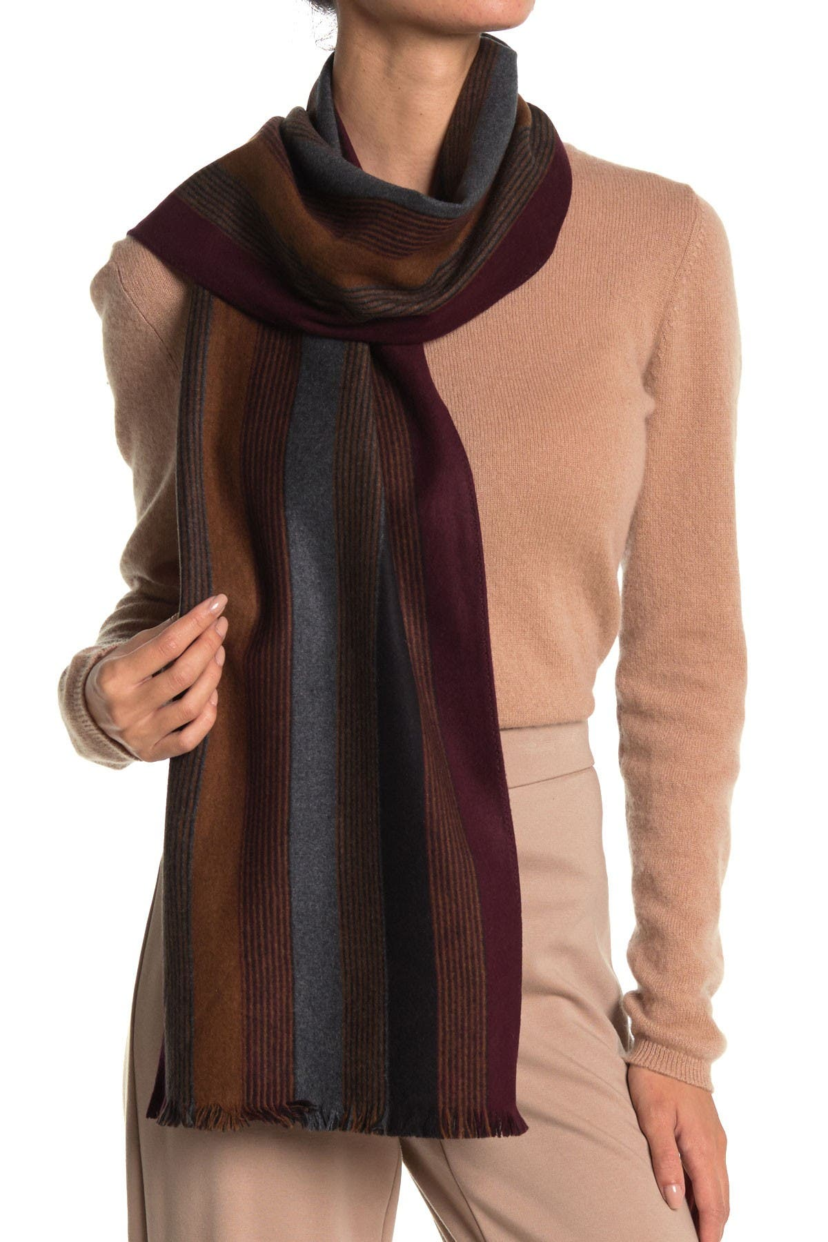 Image of Chelsey Imports Striped Silk Scarf
