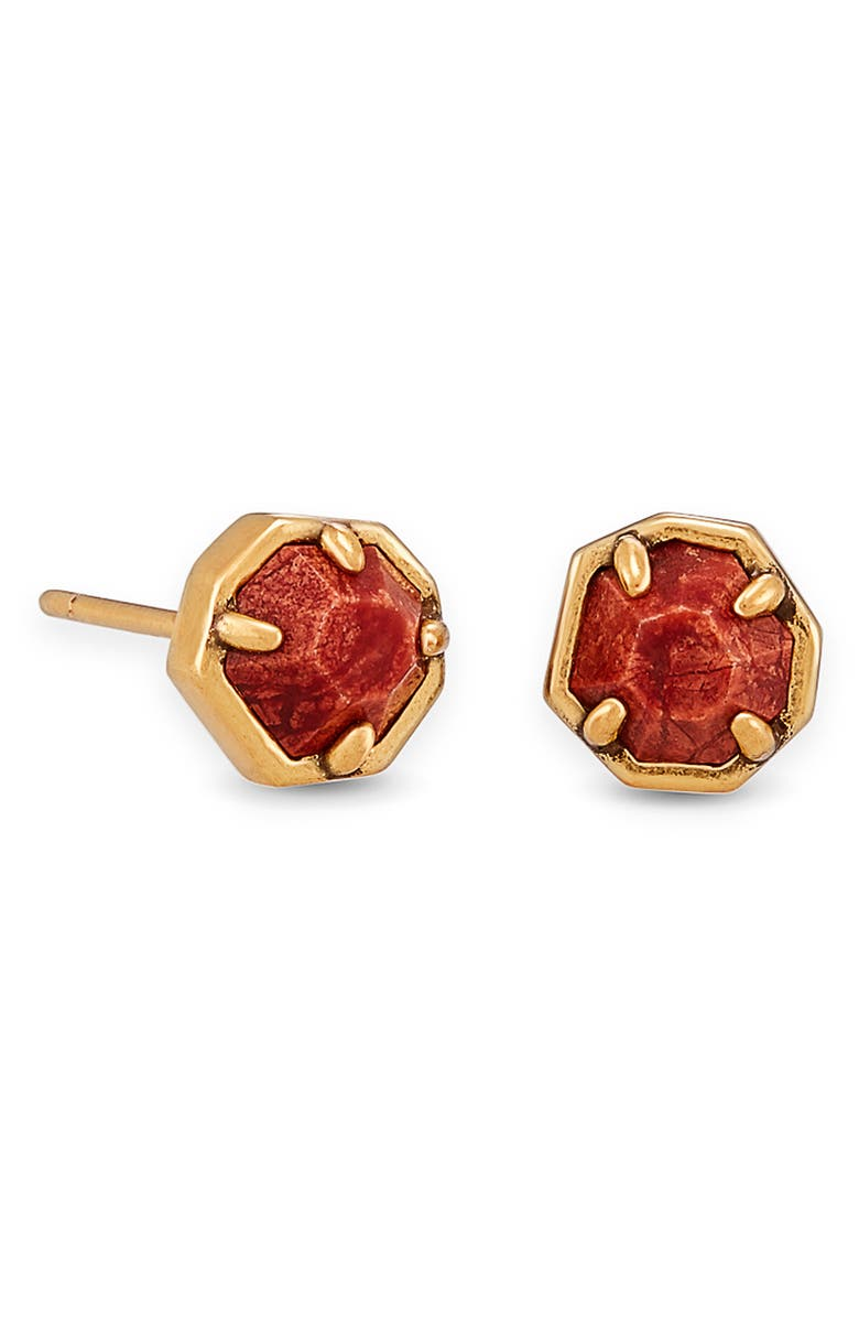 KENDRA SCOTT Nola Stud Earrings, Main, color, GOLD BURNT SIENNA HOWLITE