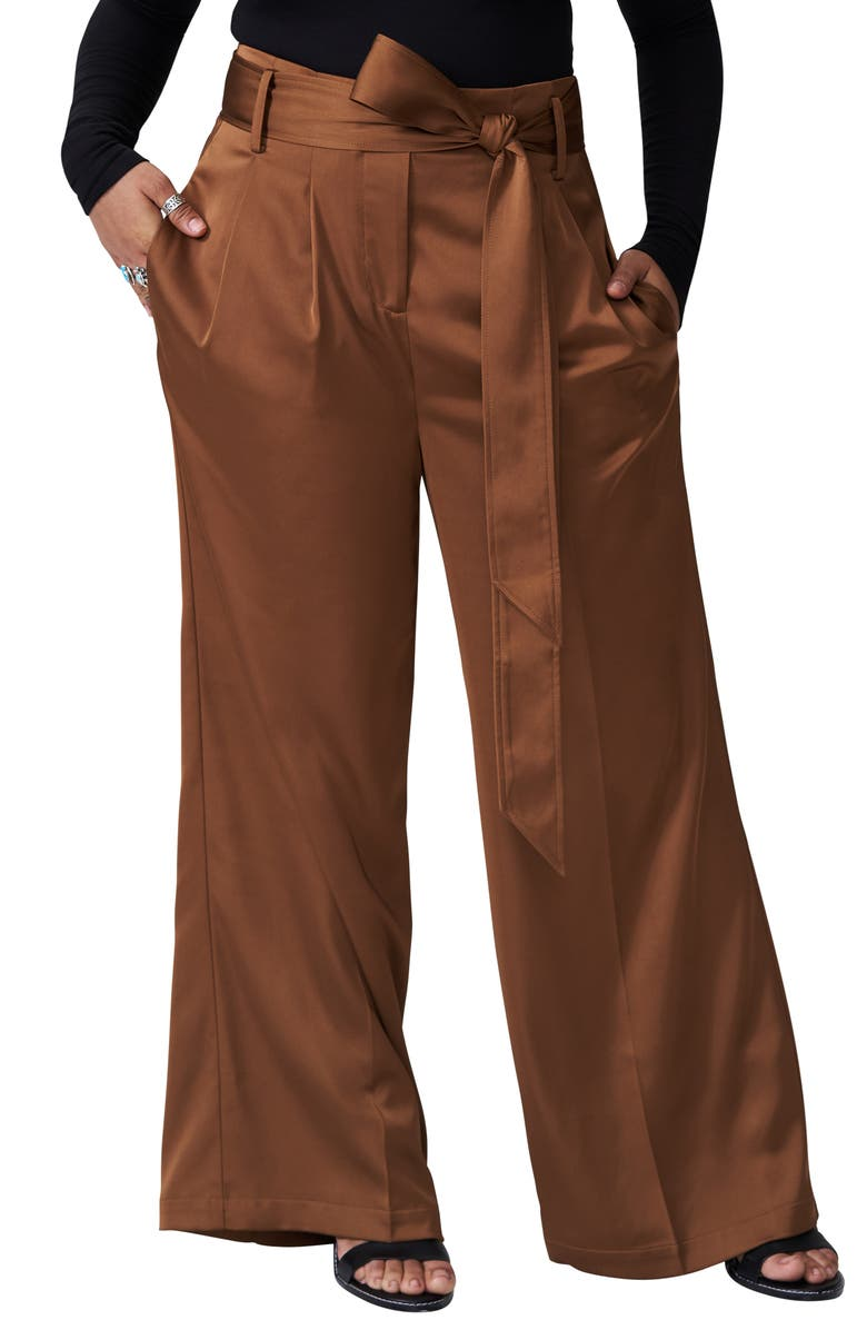 UNIVERSAL STANDARD Tresa Wide Leg Pants, Main, color, CARAMEL