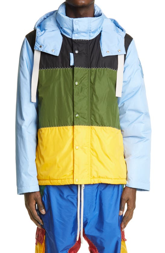 Moncler Genius 1 MONCLER JW ANDERSON COLORBLOCK WATER RESISTANT HOODED COAT
