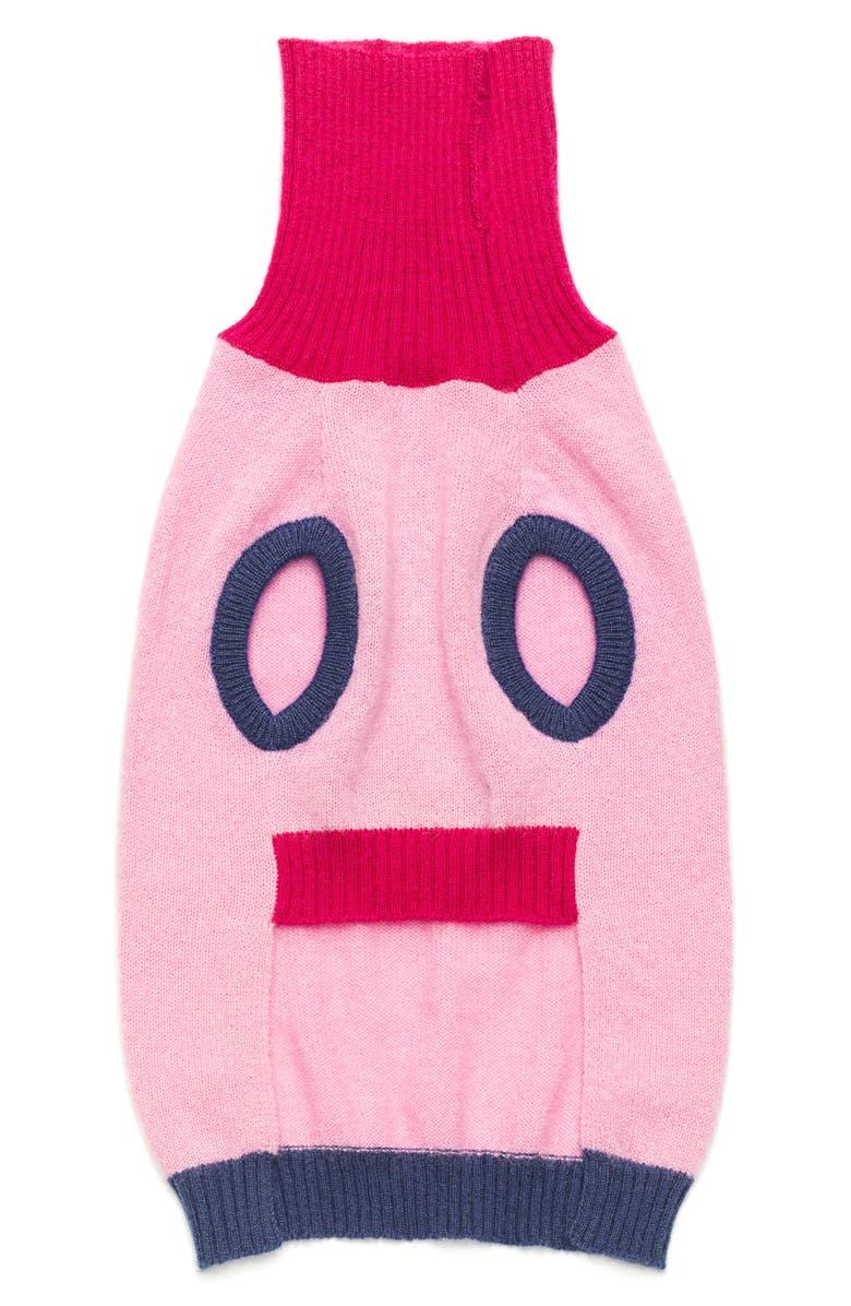 LOVETHYBEAST Merino Wool Dog Sweater, Main, color, ROSE/ NAVY/ FUCSHIA