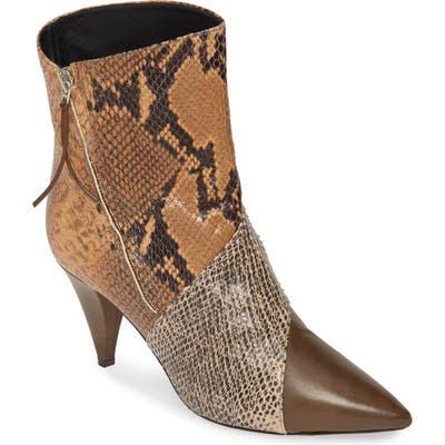 Isabel Marant Latts Python Embossed Patchwork Bootie, Brown
