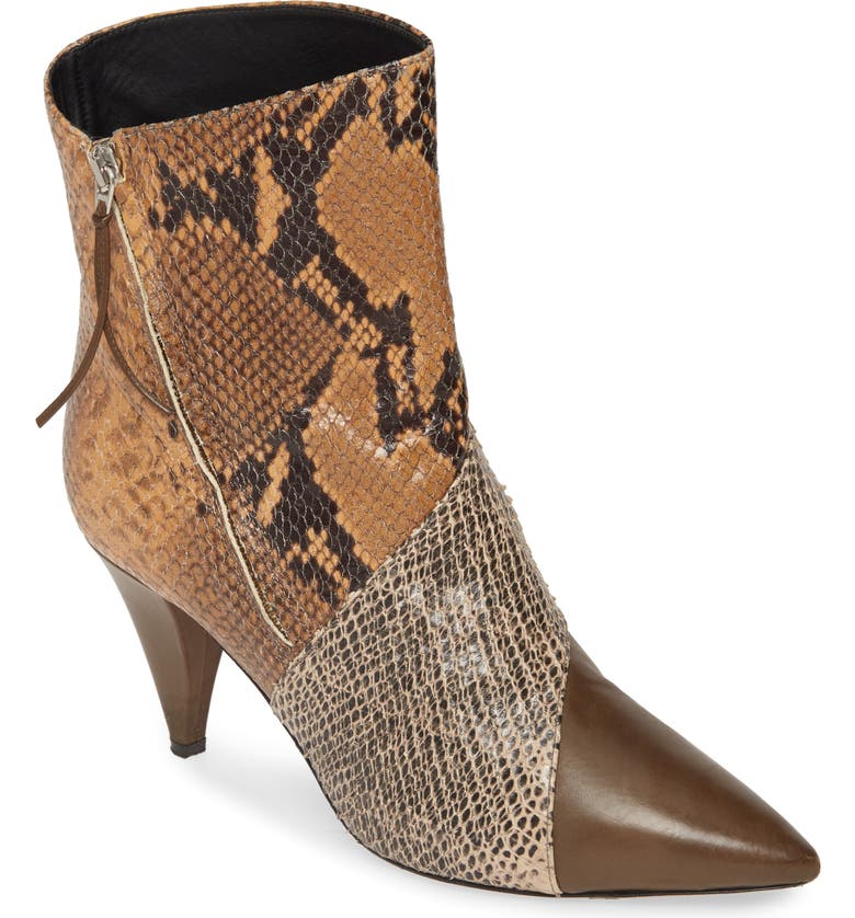 ISABEL MARANT Latts Python Embossed Patchwork Bootie, Main, color, TAUPE/ CAMEL