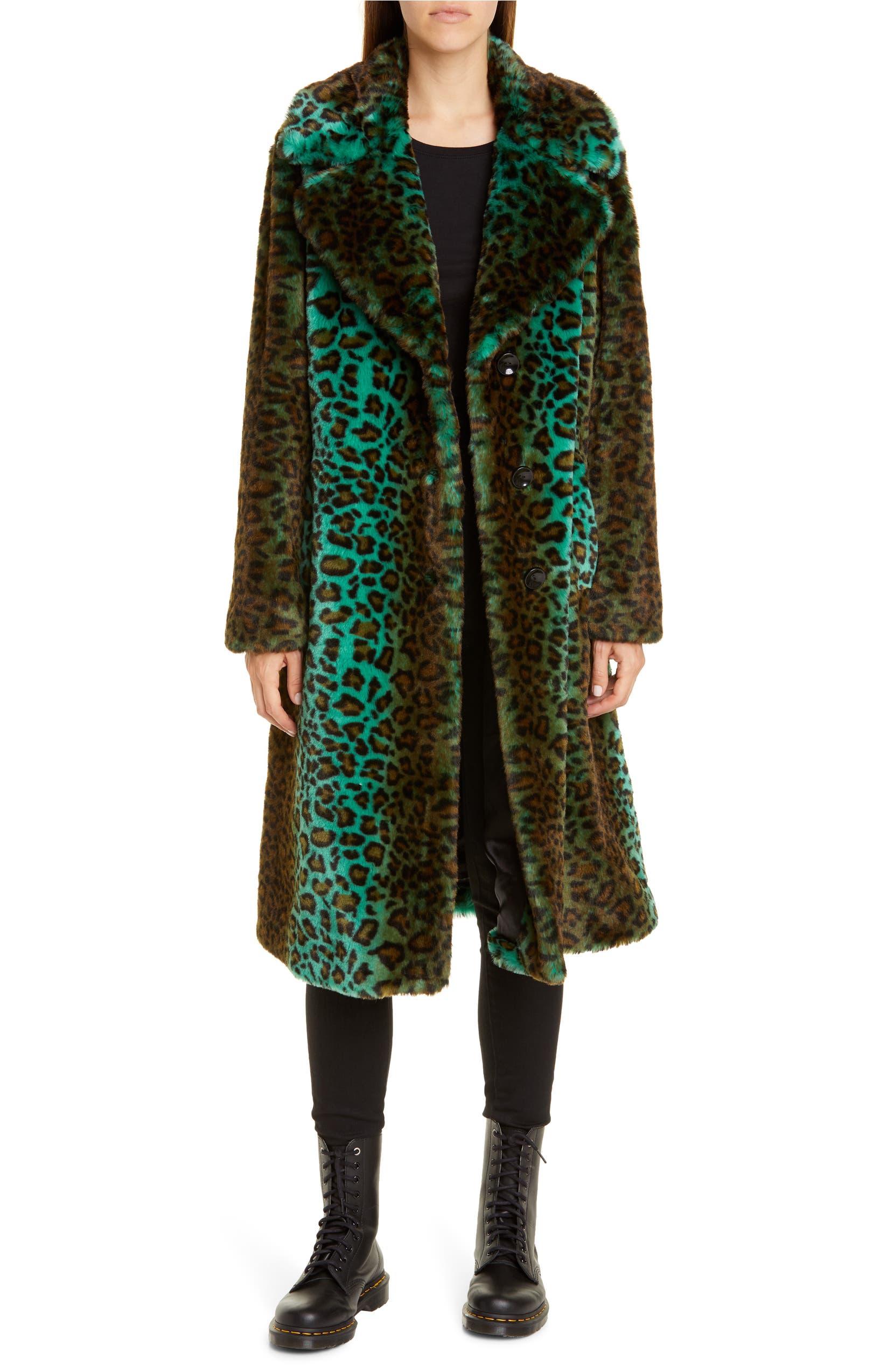 STAND STUDIO Fanny Gradient Leopard Print Faux Fur Coat, Main, color, GREEN