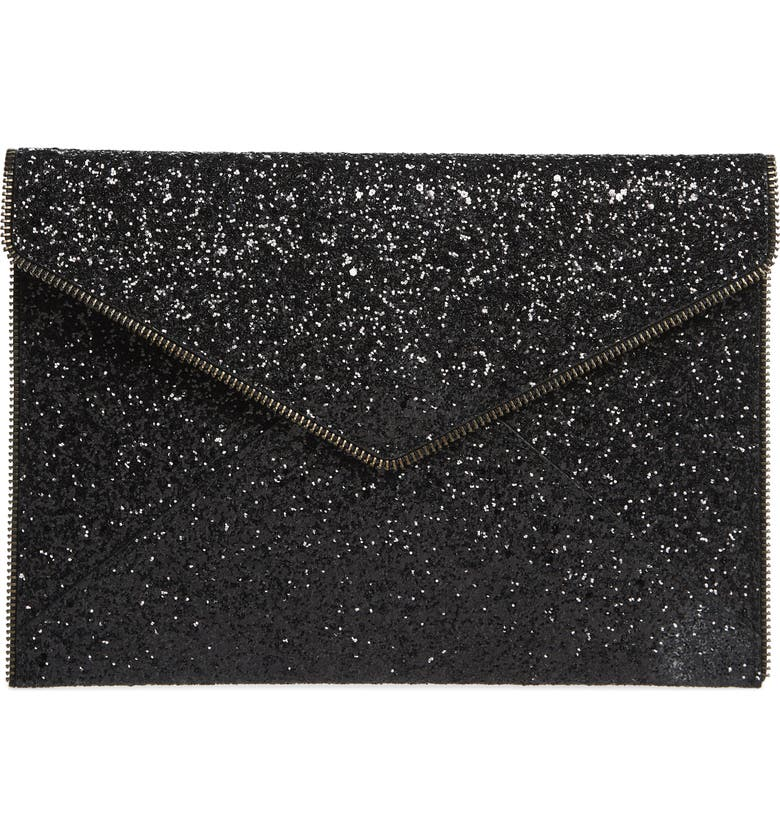 REBECCA MINKOFF Leo Glitter Clutch, Main, color, 001