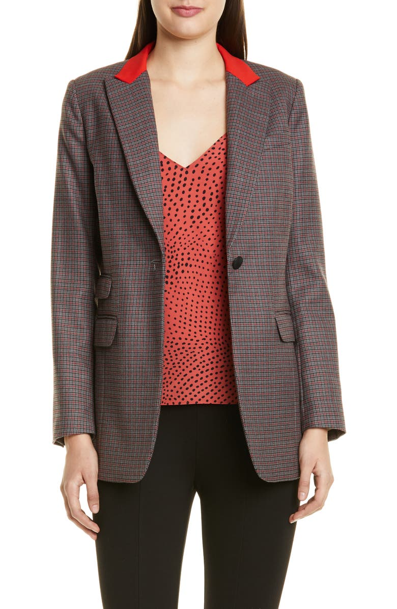 RAG & BONE Paloma Check Stretch Wool Blend Blazer, Main, color, 020