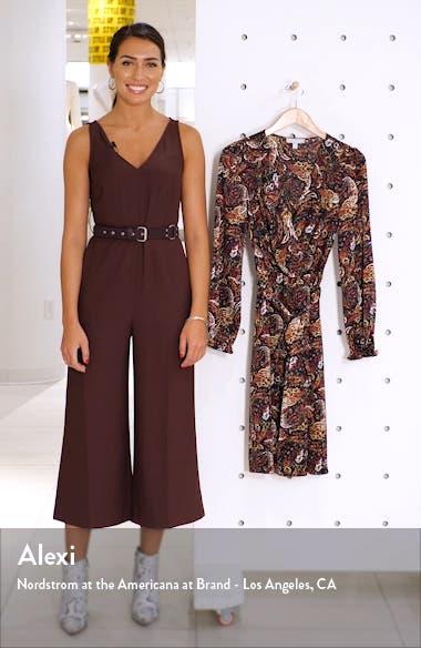 Paisley Print Long Sleeve Faux Wrap Dress, sales video thumbnail
