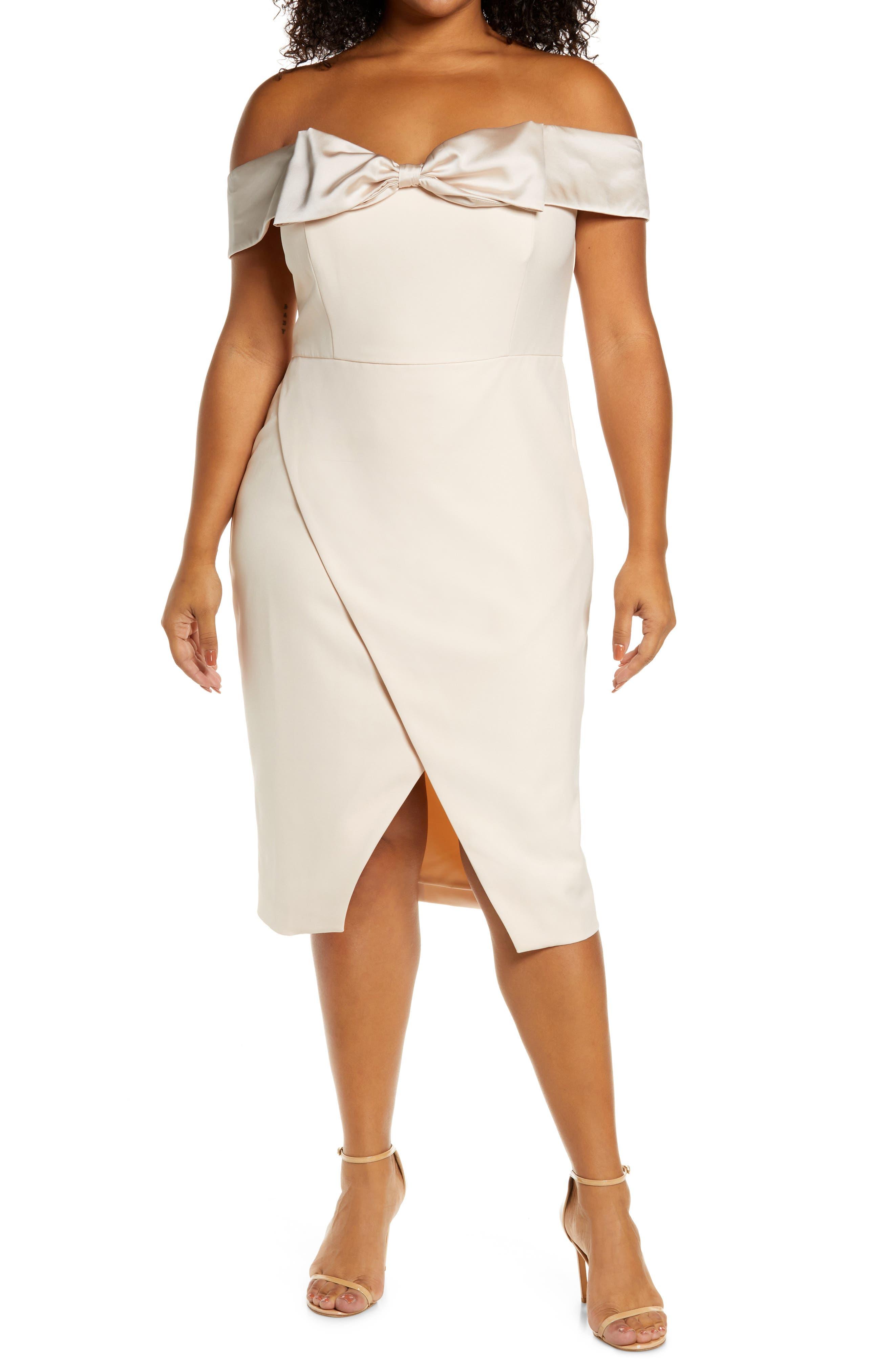 Bow Detail Bardot Cocktail Dress