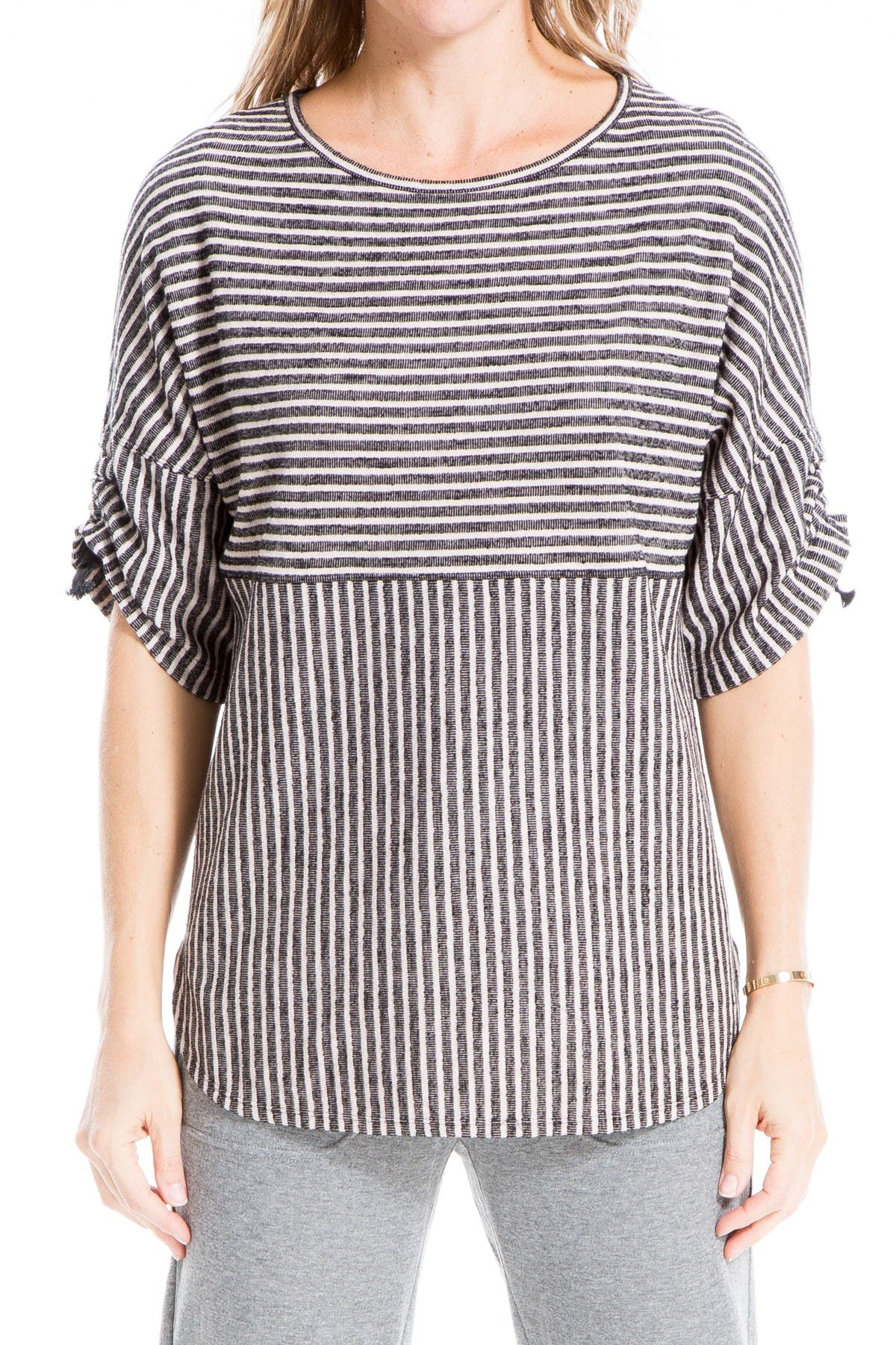 Image of Max Studio Ruched Sleeve Rib Knit Pullover