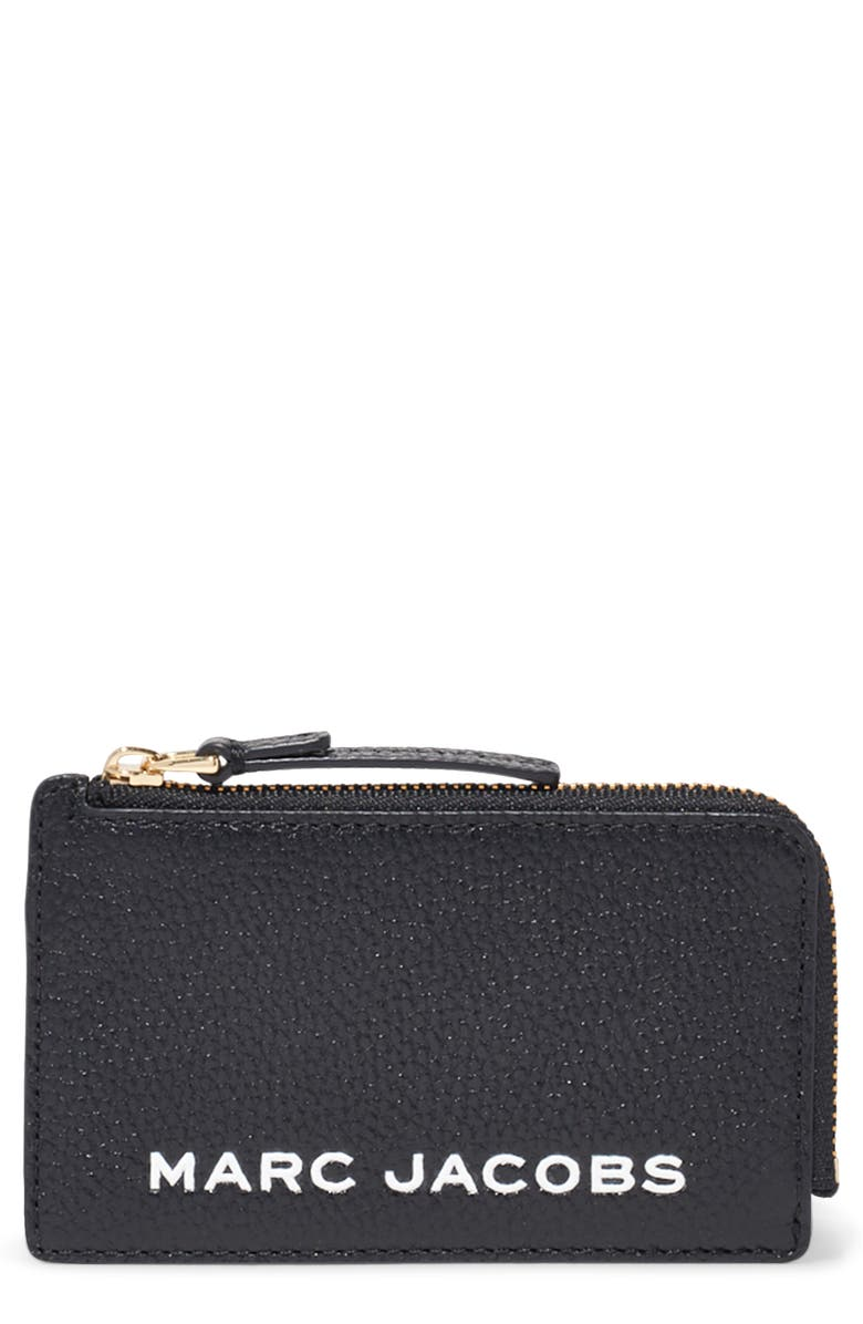 MARC JACOBS Logo Leather Zip Wallet, Main, color, BLACK