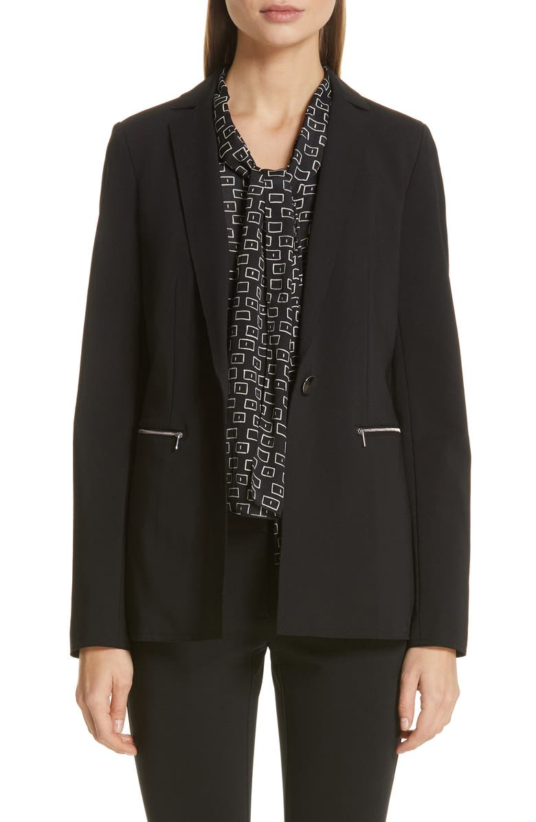 LAFAYETTE 148 NEW YORK Samson Zip Pocket Blazer, Main, color, BLACK