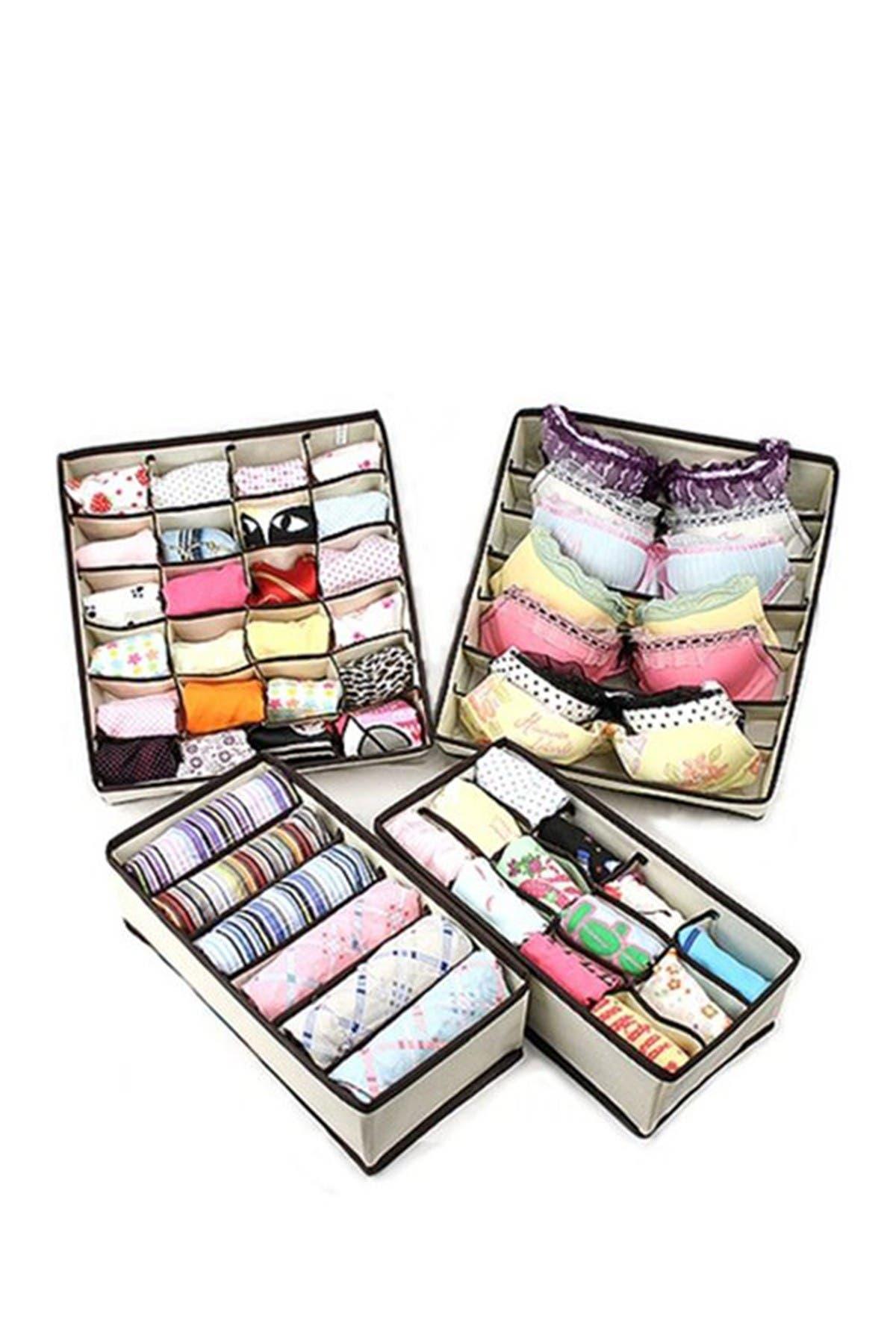 Image of Sorbus Beige Foldable Drawer Divider Storage Boxes - Set of 4