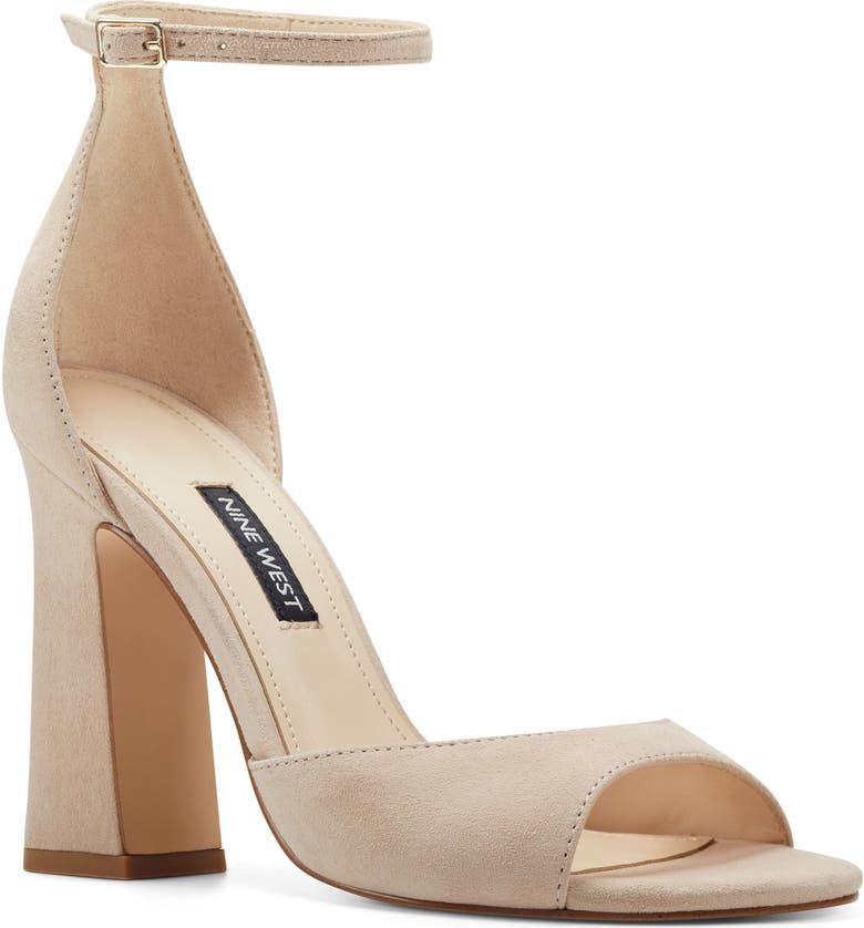 NINE WEST Gavyn Ankle Strap Sandal, Main, color, BARELY NUDE SUEDE