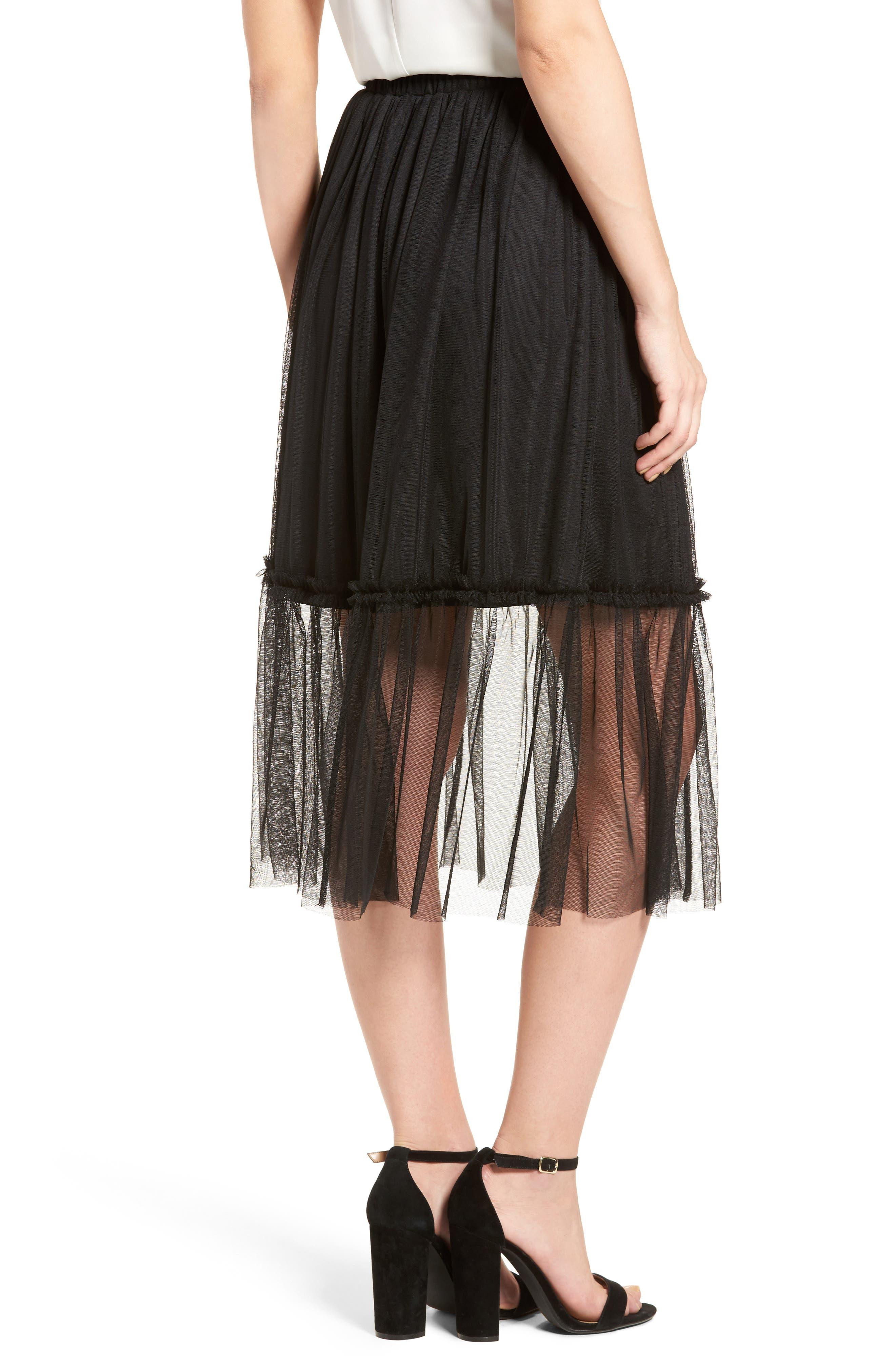 ,                             Tulle Midi Skirt,                             Alternate thumbnail 2, color,                             001
