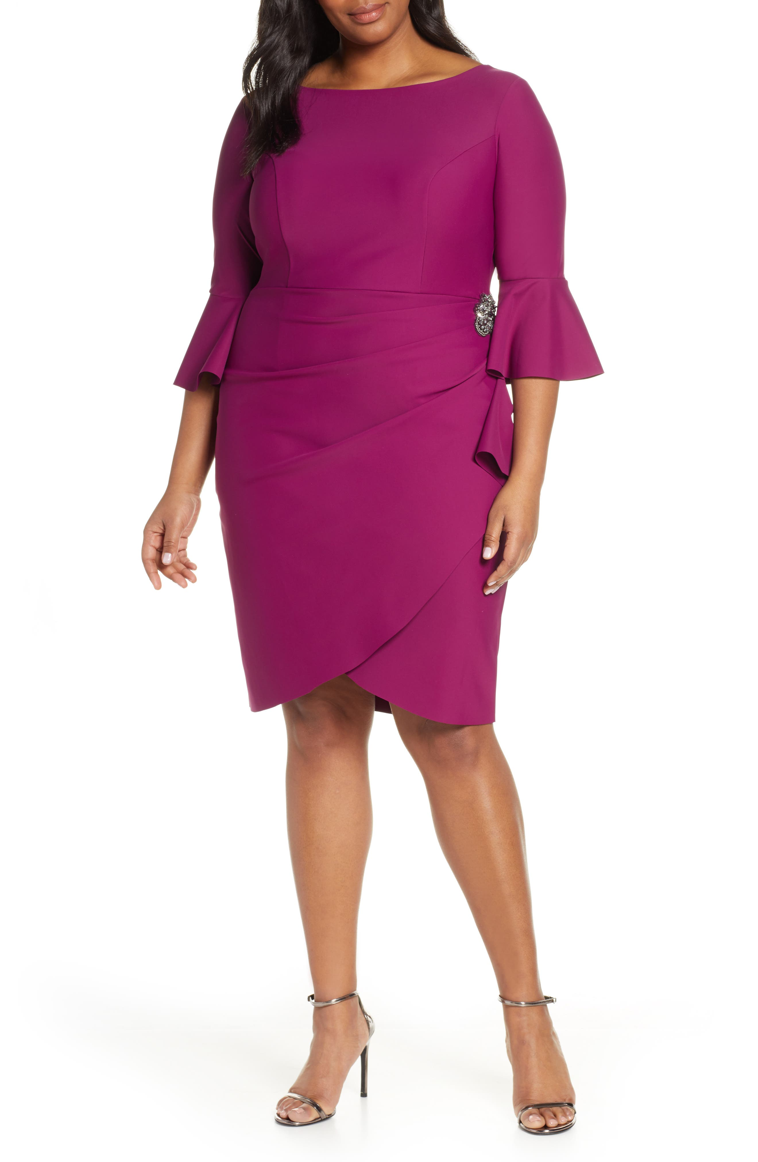 Bell Sleeve Sheath Dress, Main, color, PASSION