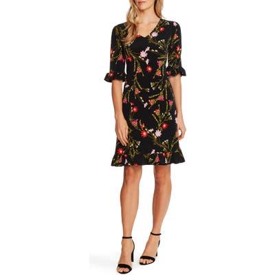 Cece Enchanted Wildflower Ruffle Shift Dress, Black