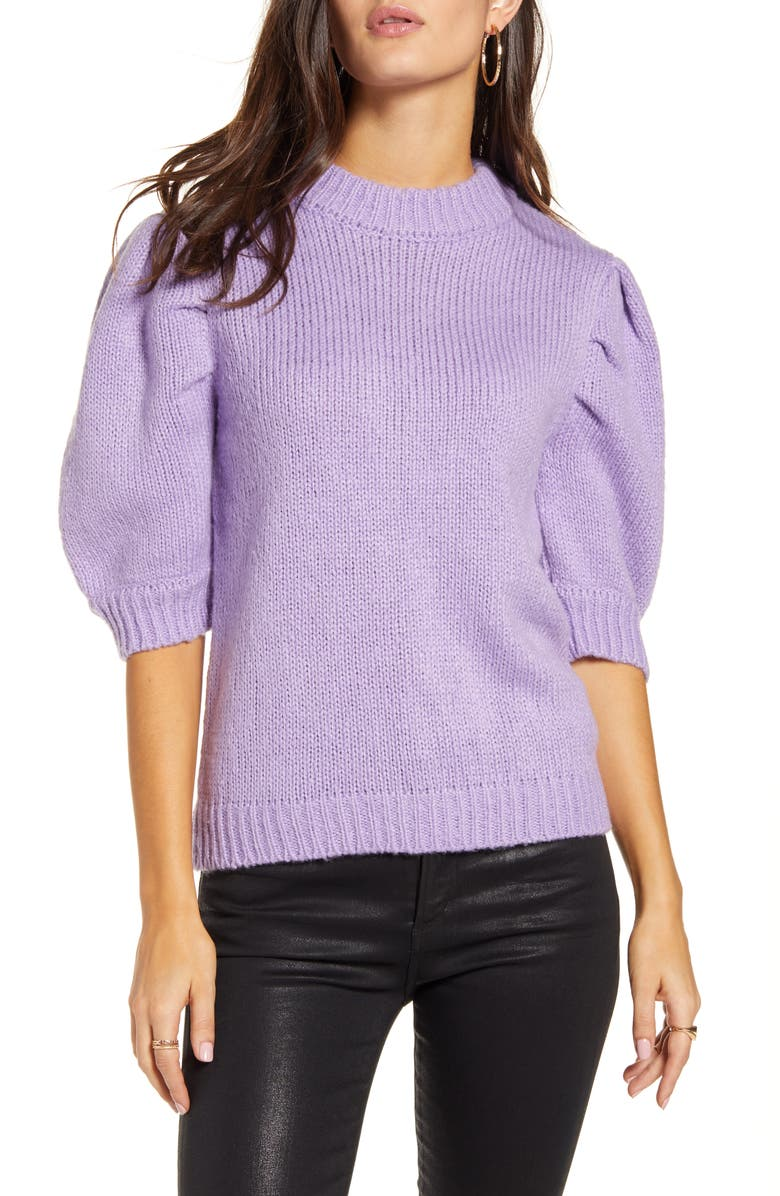 ENGLISH FACTORY Puff Sleeve Sweater, Main, color, PURPLE