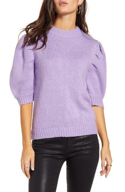 English Factory Puff Sleeve Sweater In Purple
