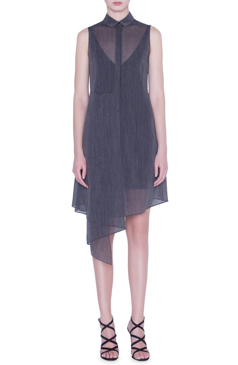 AKRIS Asymmetrical Two-Tone Wool Crepe Shirtdress, Main, color, 093-BLACK-BIRCH