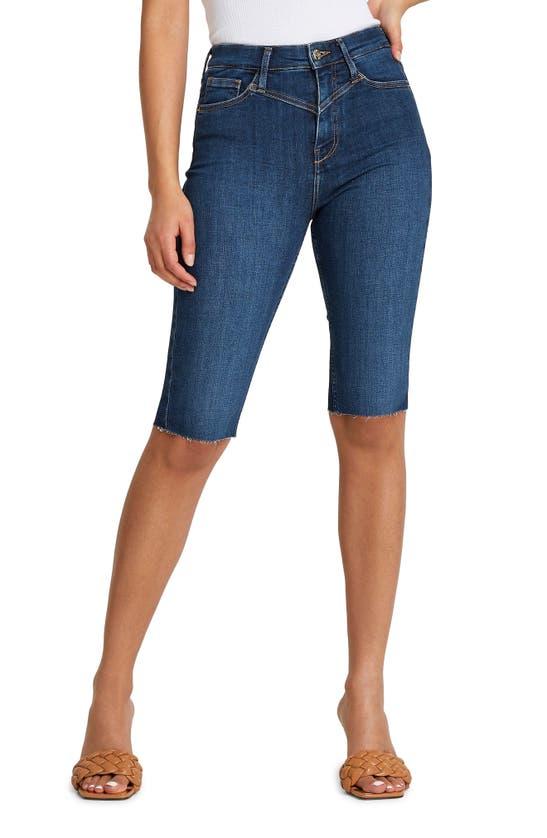 River Island High Waist Cutoff Denim Bermuda Shorts In Medium Blue
