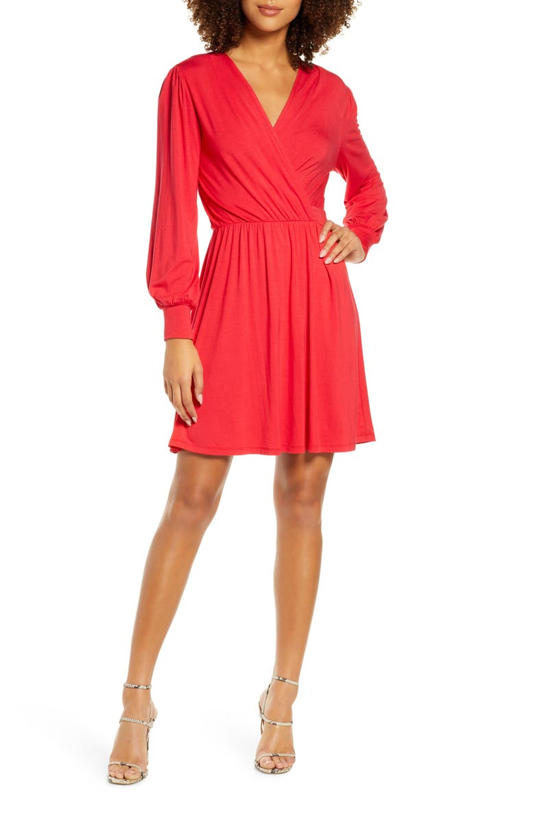 FRAICHE BY J Fit & Flare Dress, Main, color, RED