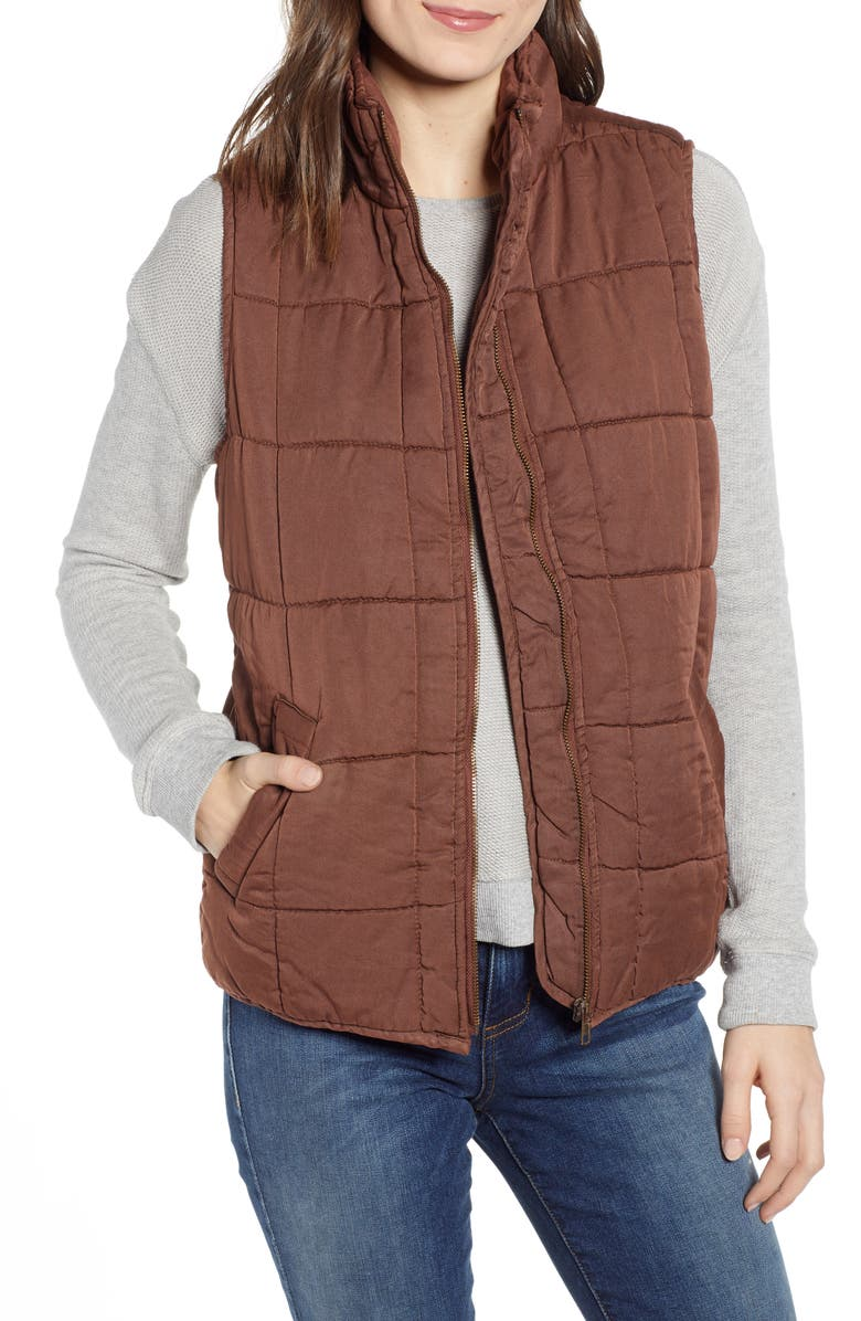 THREAD & SUPPLY Kensington Quilted Vest, Main, color, MOCHA