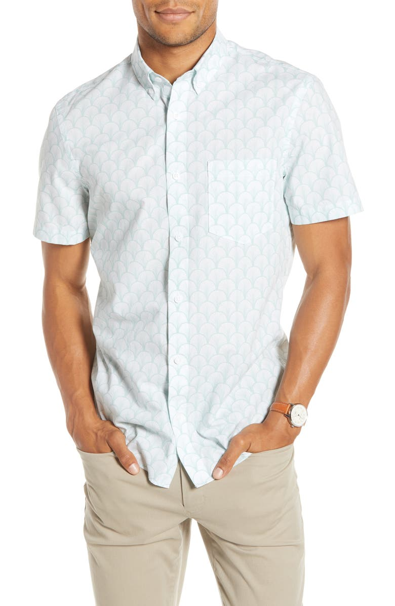 1901 Trim Fit Short Sleeve Button-Down Shirt, Main, color, WHITE BLUE SCALES