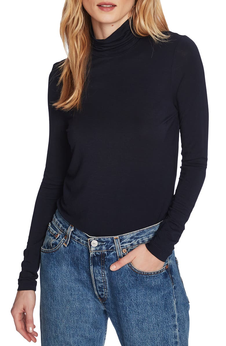 COURT & ROWE Stretch Jersey Turtleneck Top, Main, color, BLUE NIGHT
