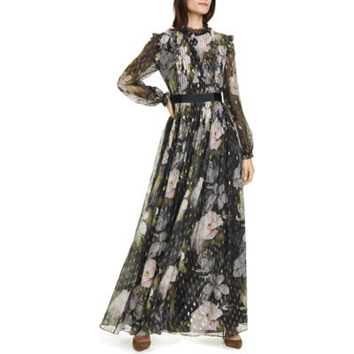 Ted Baker London Hunnie Opal Long Sleeve Maxi Dress, (fits like 14 US) - Black